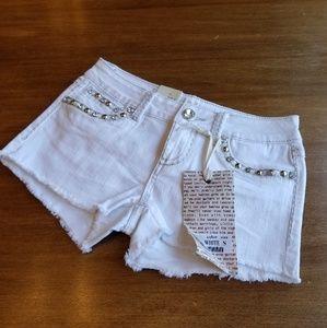 L.A. Idol white embellished denim shorts